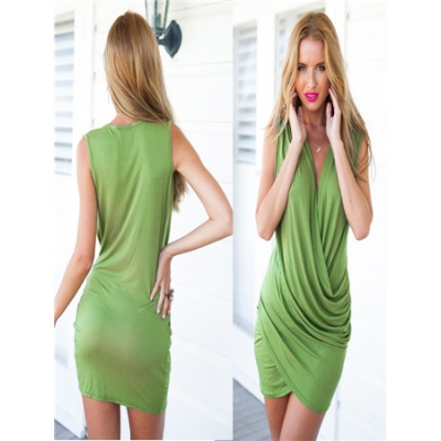 Factory price women comfortable green bandage dress M30005a