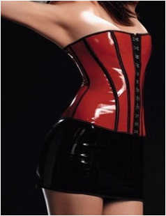 Sexy red leather corset M1677