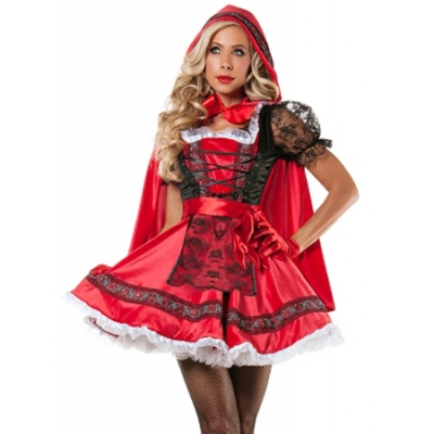 Sexy Little Red RidingHood Costume With Lace M40295