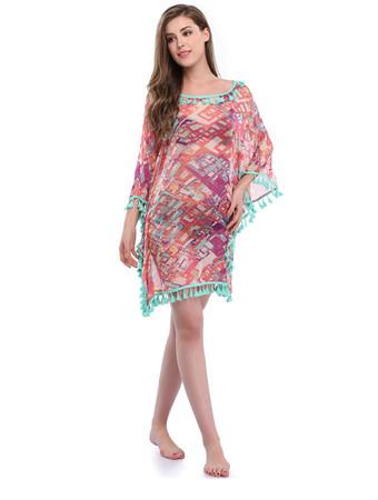 87e49e73e2 Fancy Woman Tassel Printed Sexy Dress Summer Beach Cover-Ups Item Code:  #D1027